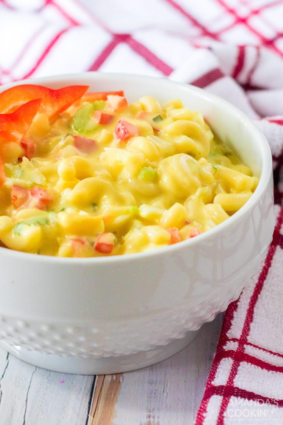 small bowl of Amish Macaroni Salad
