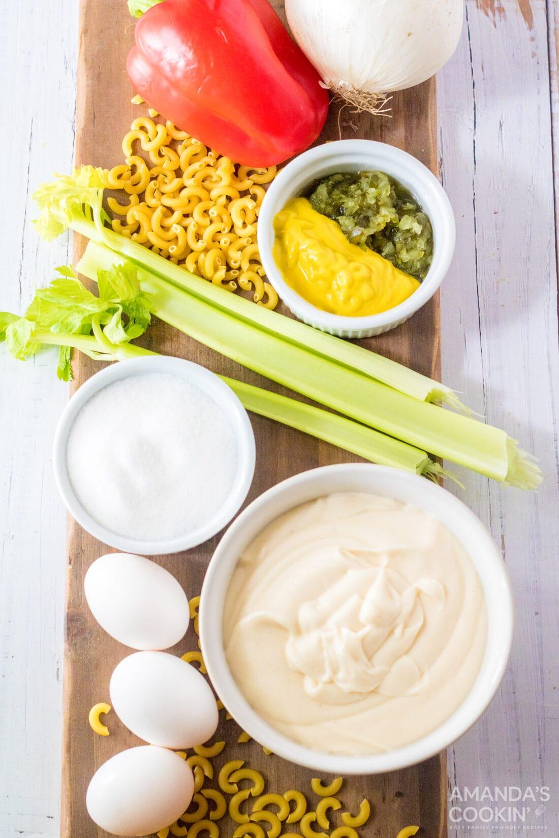 ingredients for making Amish Macaroni Salad