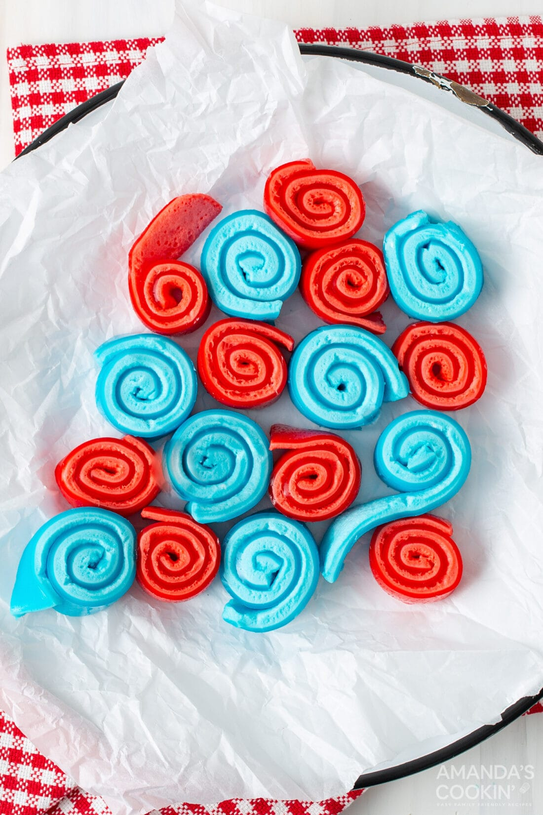 red and blue Jello Roll Ups on a plate