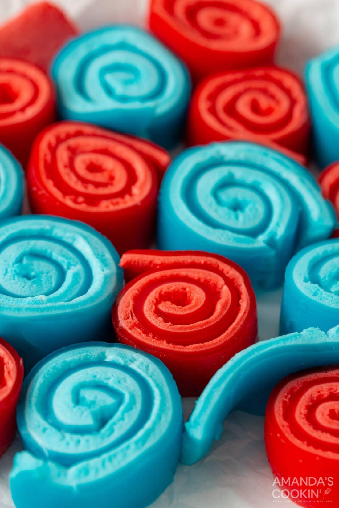 close up of patriotic Jello Roll Ups
