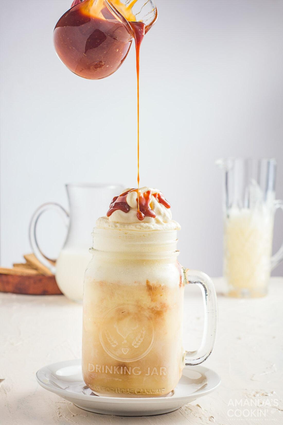 drizzling caramel on top of milkshake