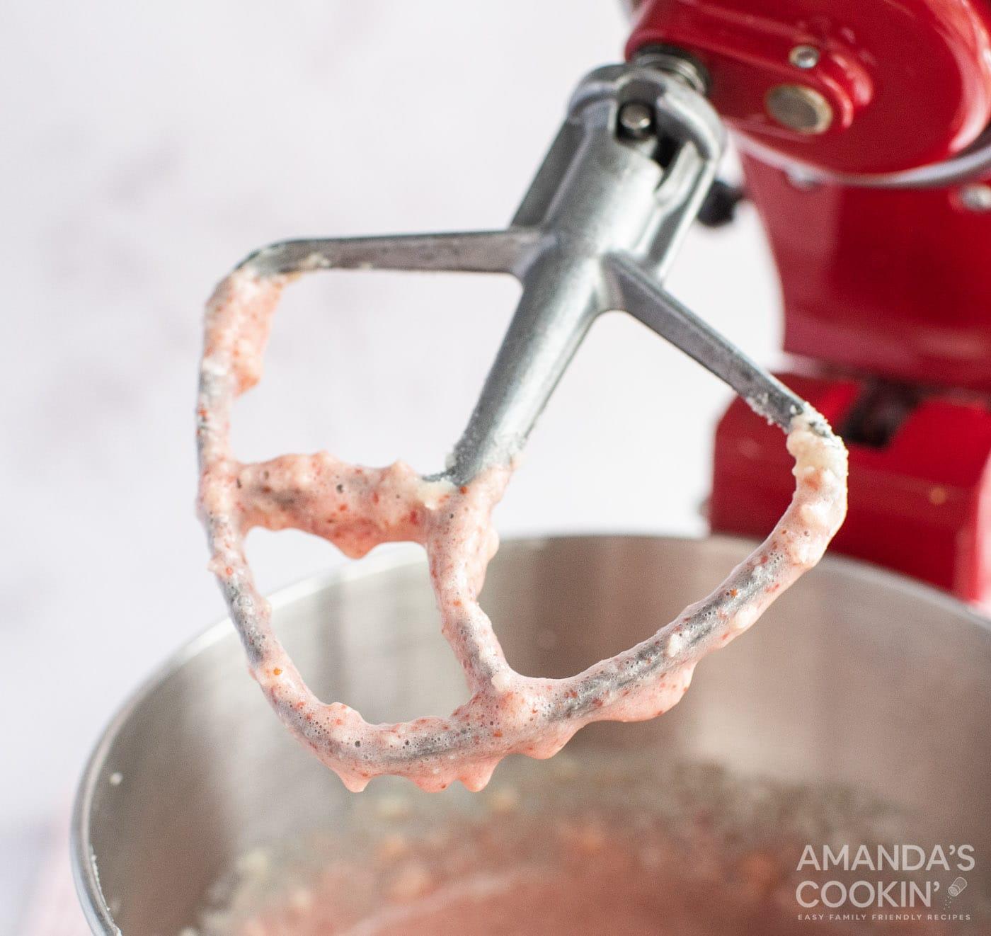strawberry batter on mixer paddle