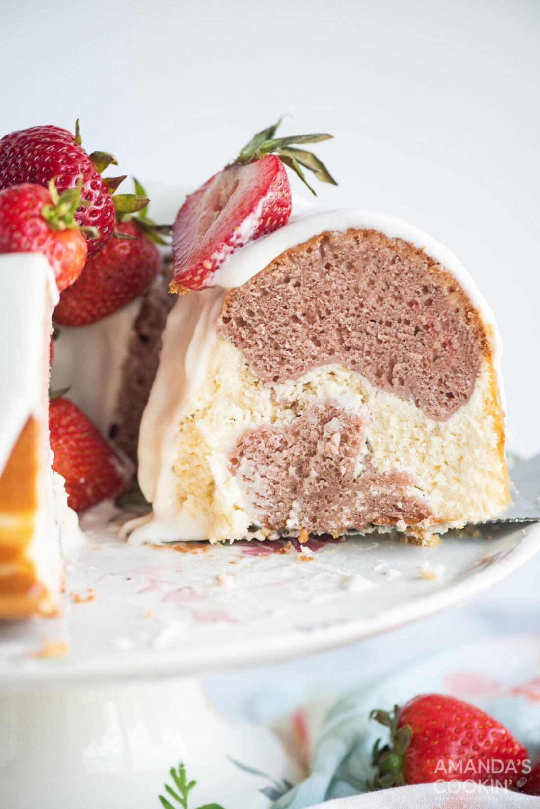 slice of strawberry bundt cake