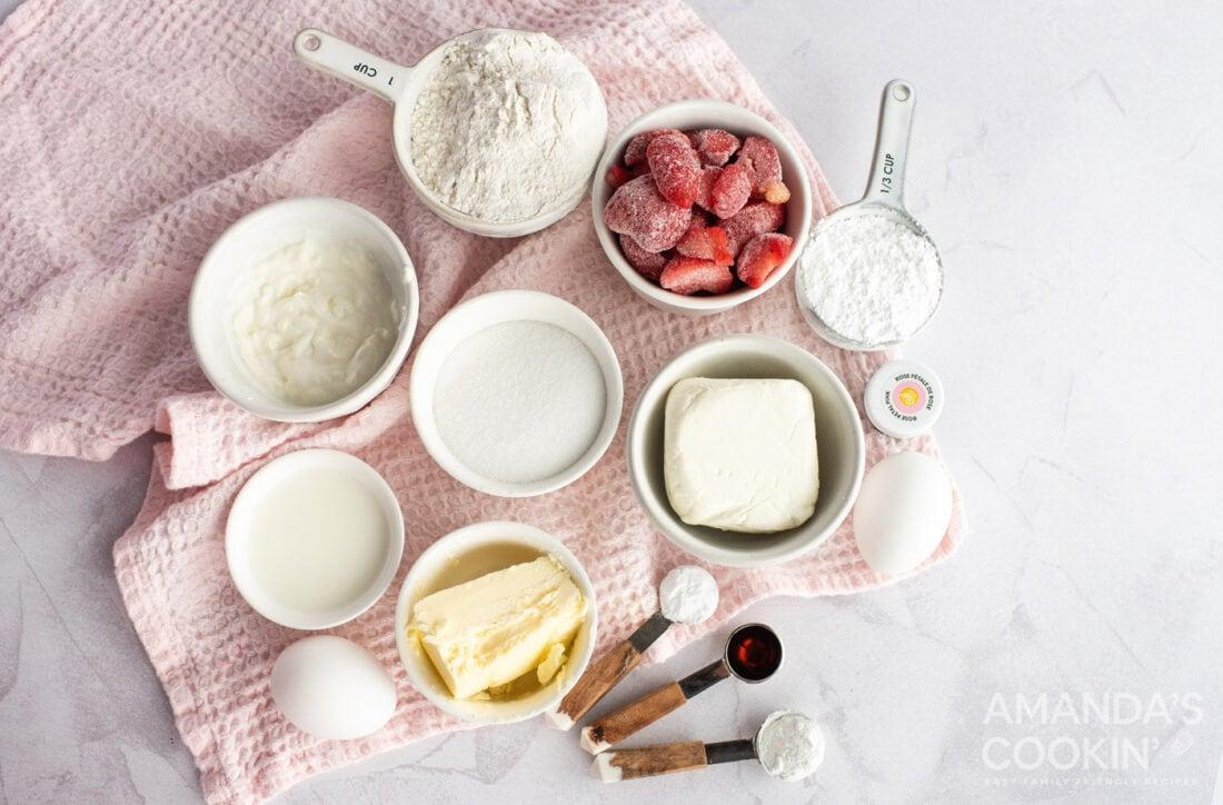 ingredients for making strawberry bundt cake