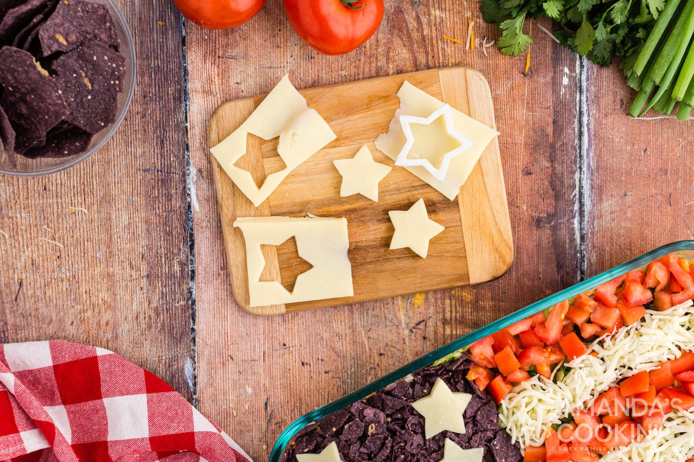 star shapes cut from cheese