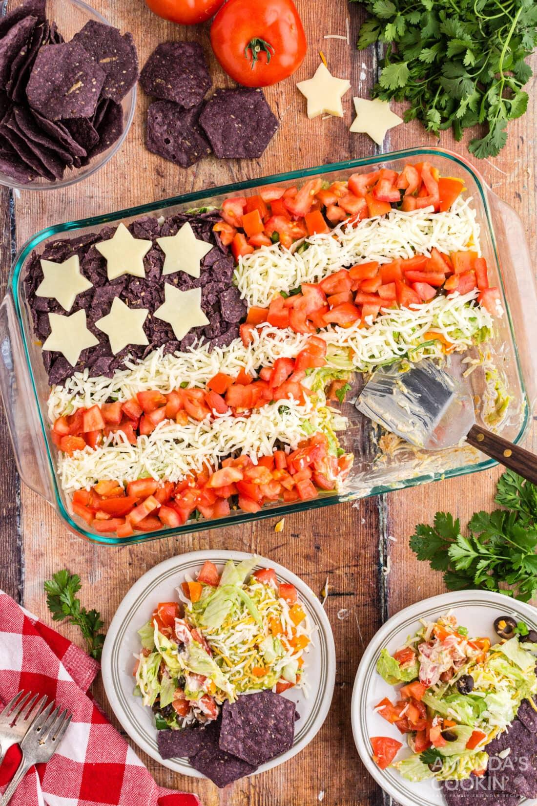 taco salad that looks like american flag
