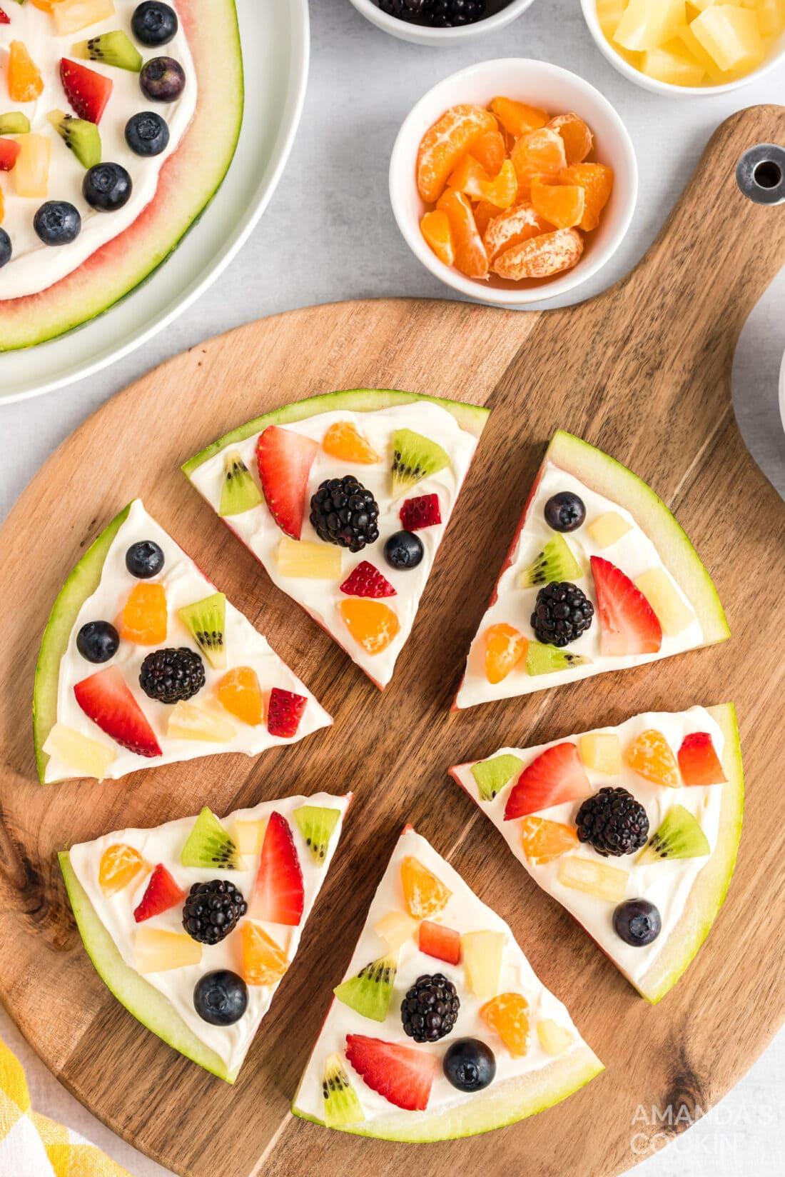 Watermelon Pizza on a cutting board