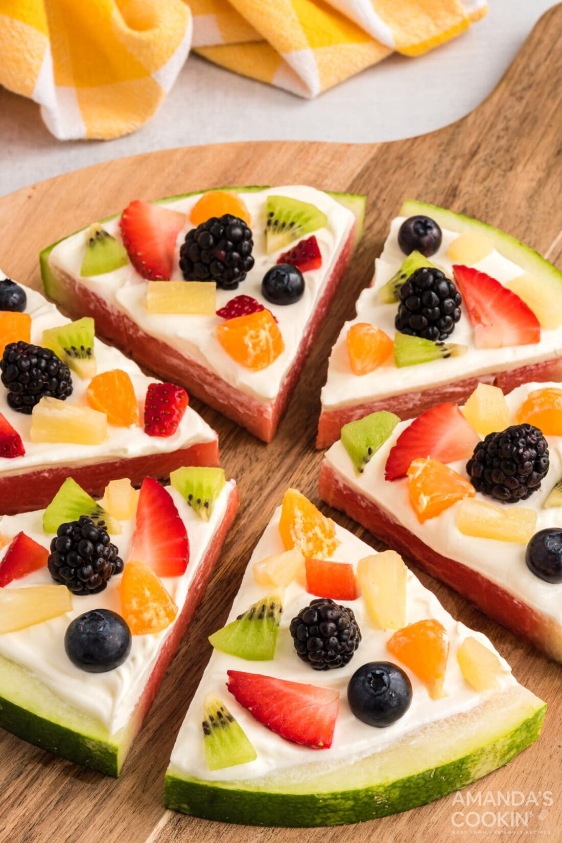 close up of sliced Watermelon Pizza