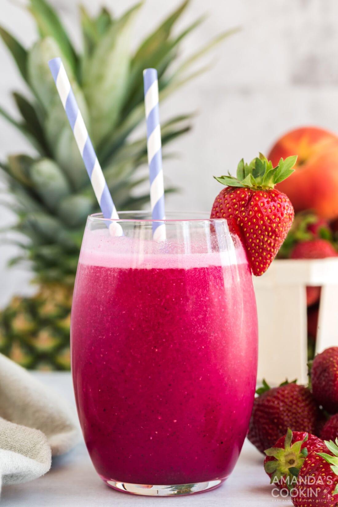 wine slushie with strawberry garnish
