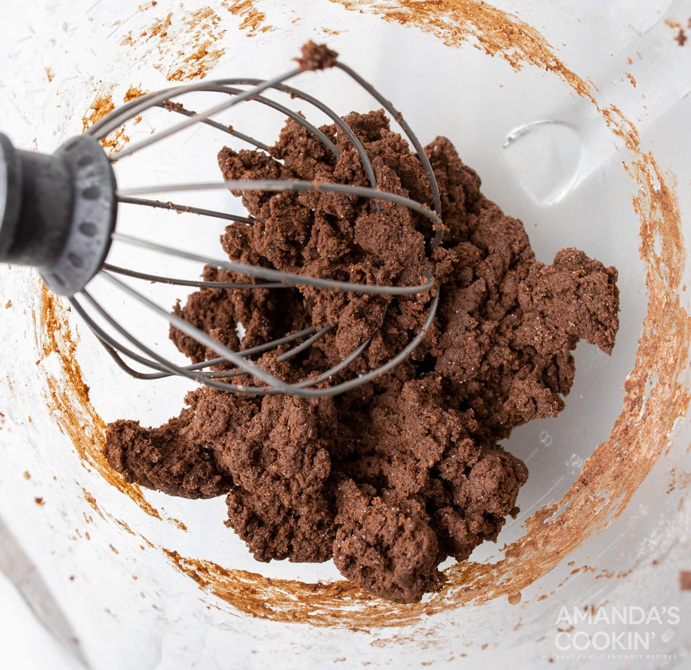 chocolate pudding with cream cheese in stand mixer bowl