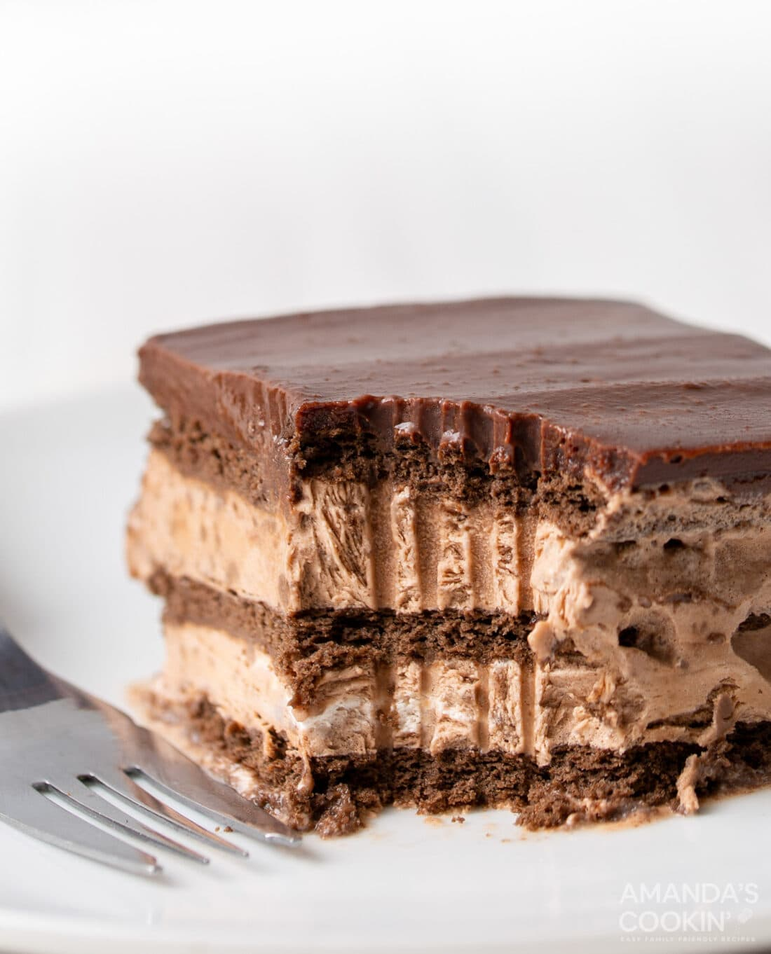 Chocolate Icebox Cake with a fork full removed