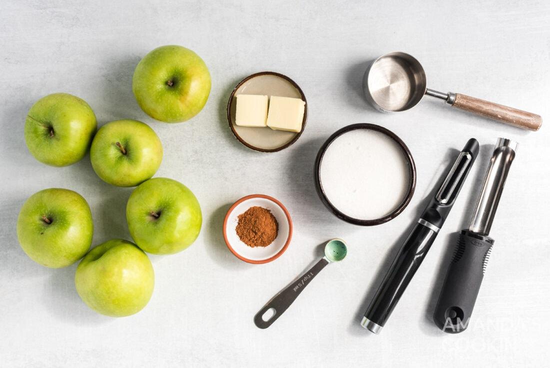 ingredients for Crockpot Cinnamon Apples