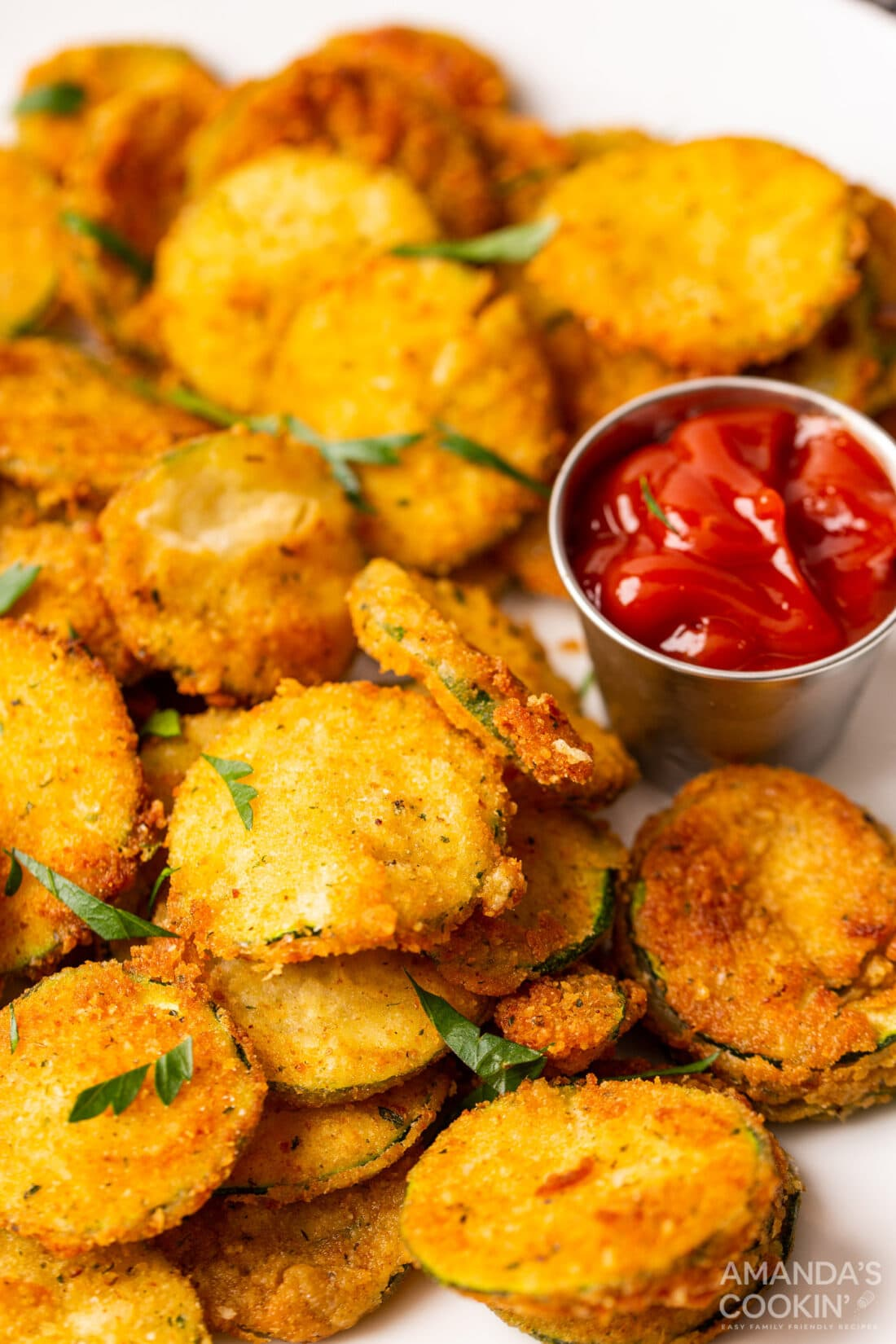 Fried Zucchini with ketchup