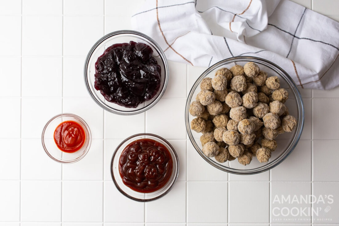 ingredients for grape jelly meatballs