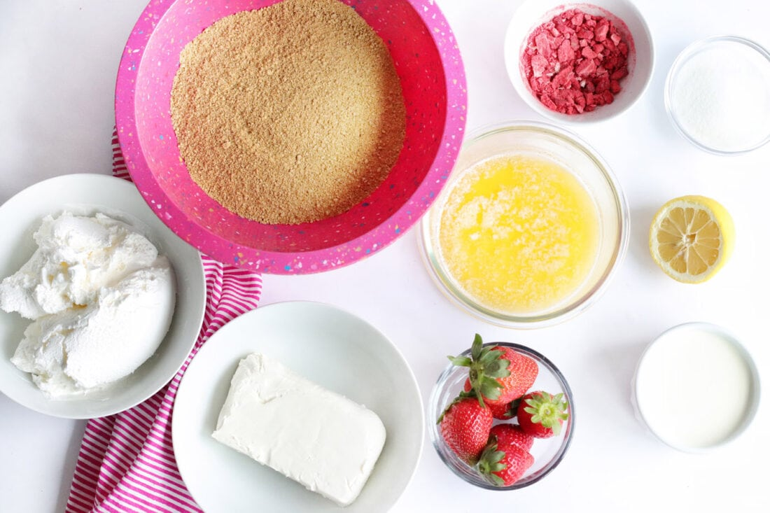 ingredients for No Bake Strawberry Cheesecake Bars