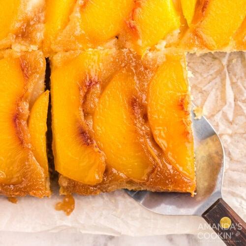 sliced Peach Upside Down Cake