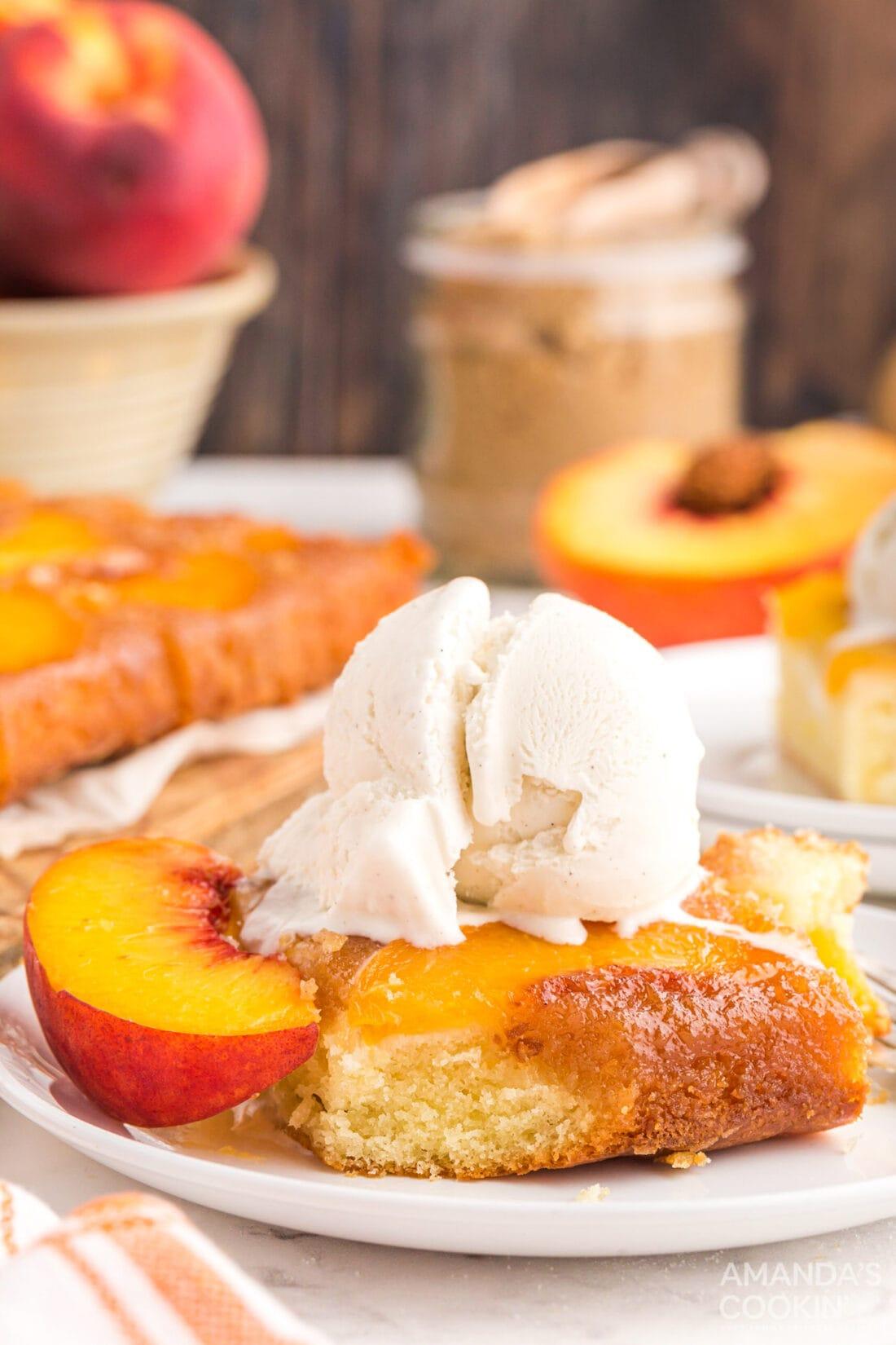 slice of Peach Upside Down Cake with ice cream