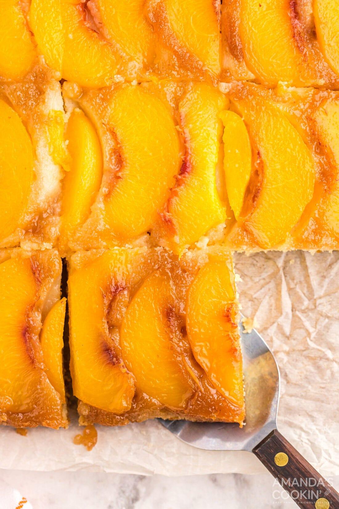 overhead shot of sliced Peach Upside Down Cake