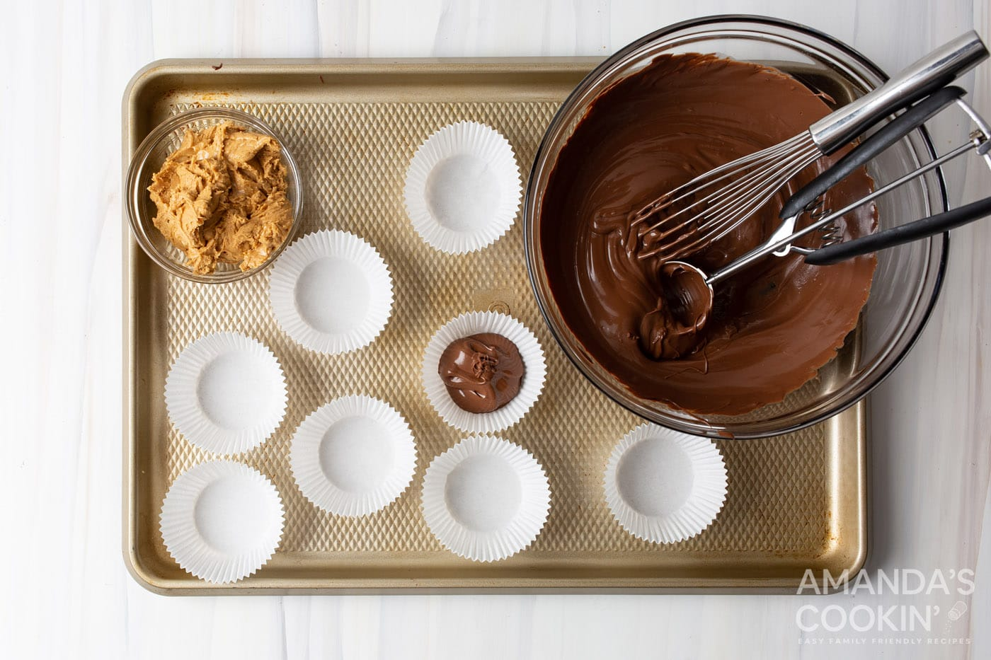 cookie scoop of chocolate in a cupcake liner