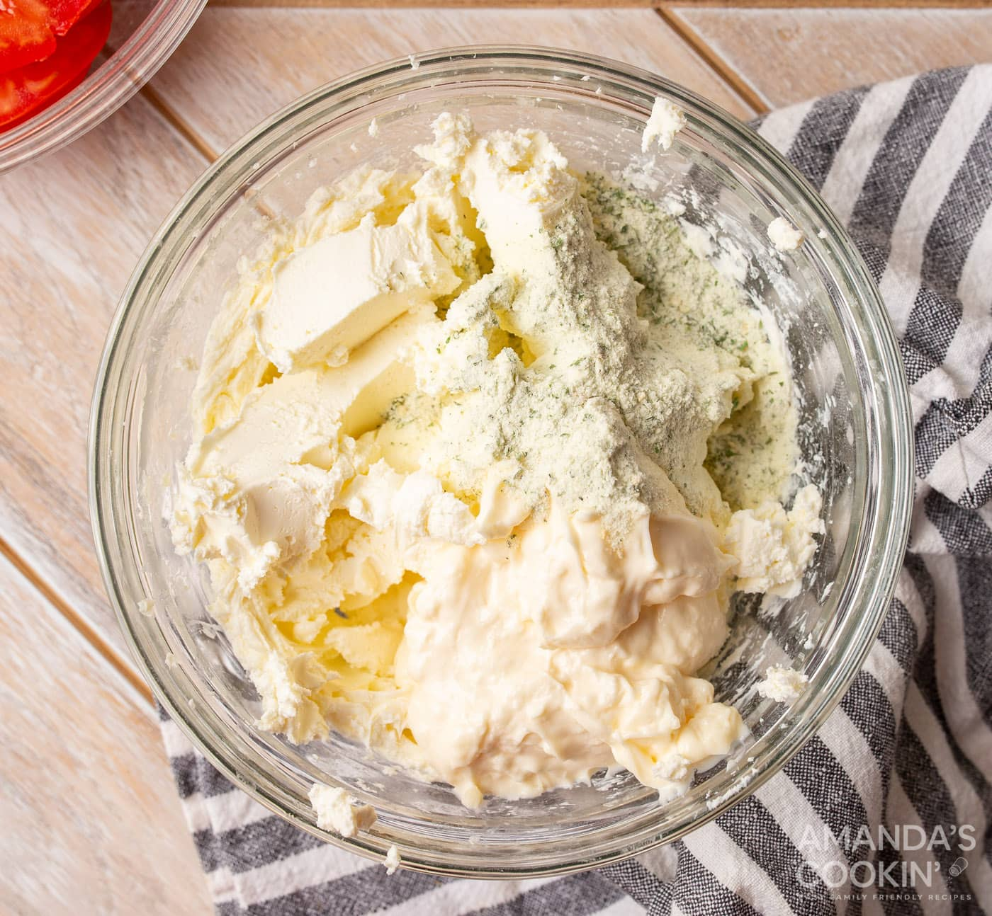 cream cheese, mayo, and ranch seasoning in a bowl