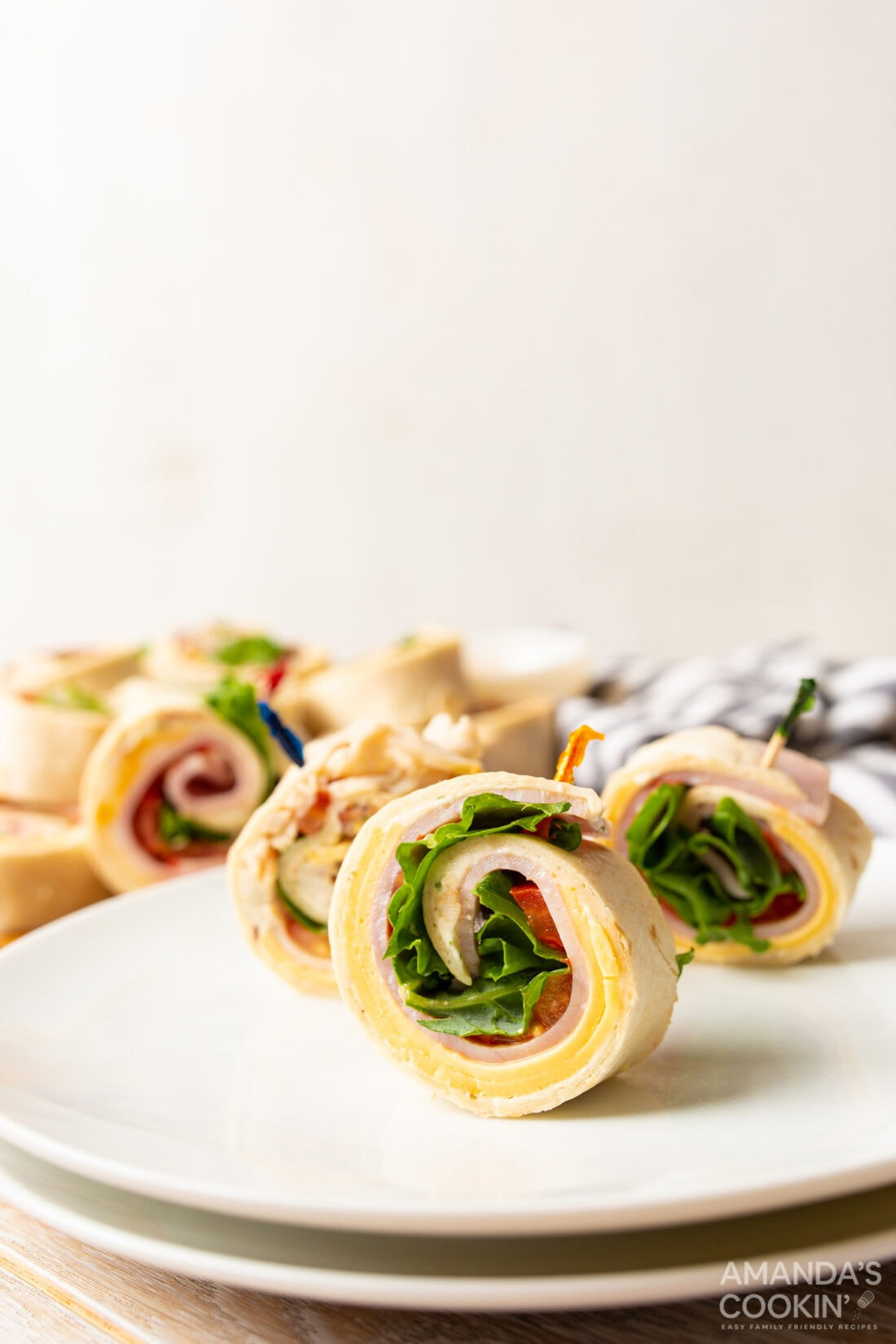 Pinwheel Sandwich appetizers with toothpicks