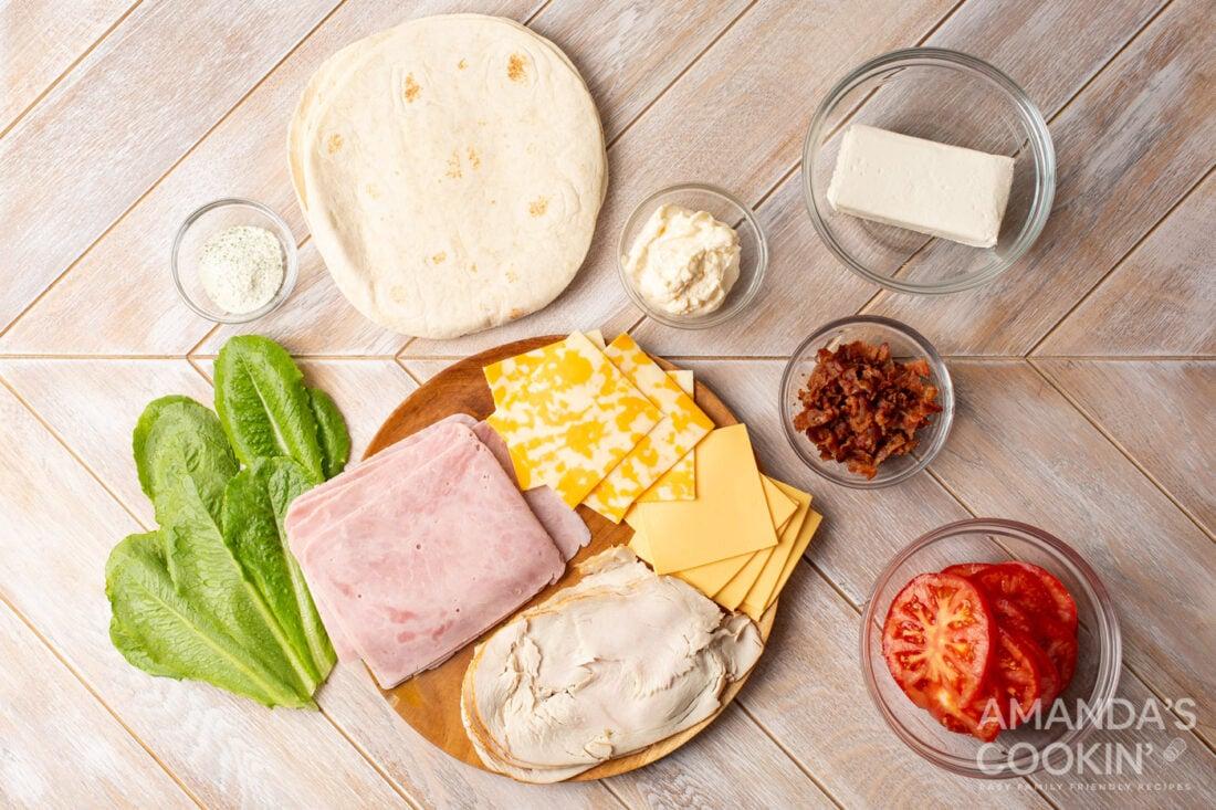 ingredients for Pinwheel Sandwiches