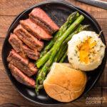 Smoked Ribeye with potatoes and asparagus