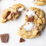 s'mores cookies pulled apart