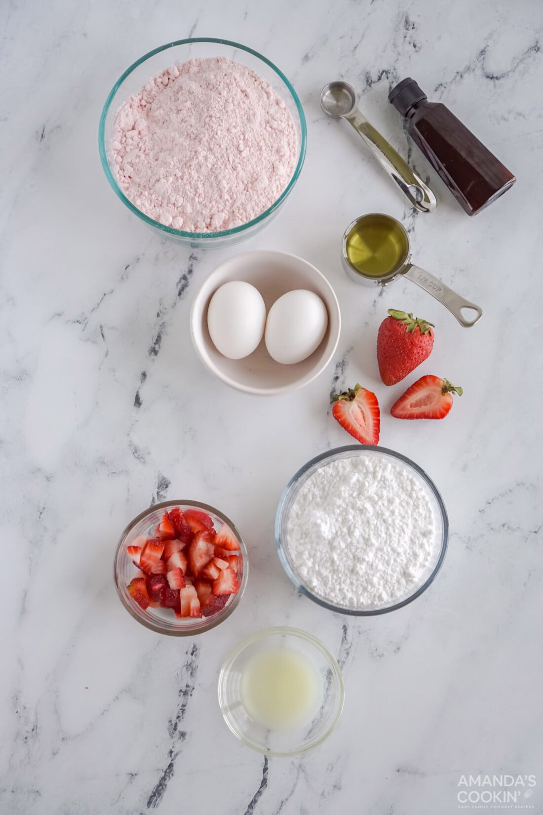 ingredients for Strawberry Cake Mix Cookies