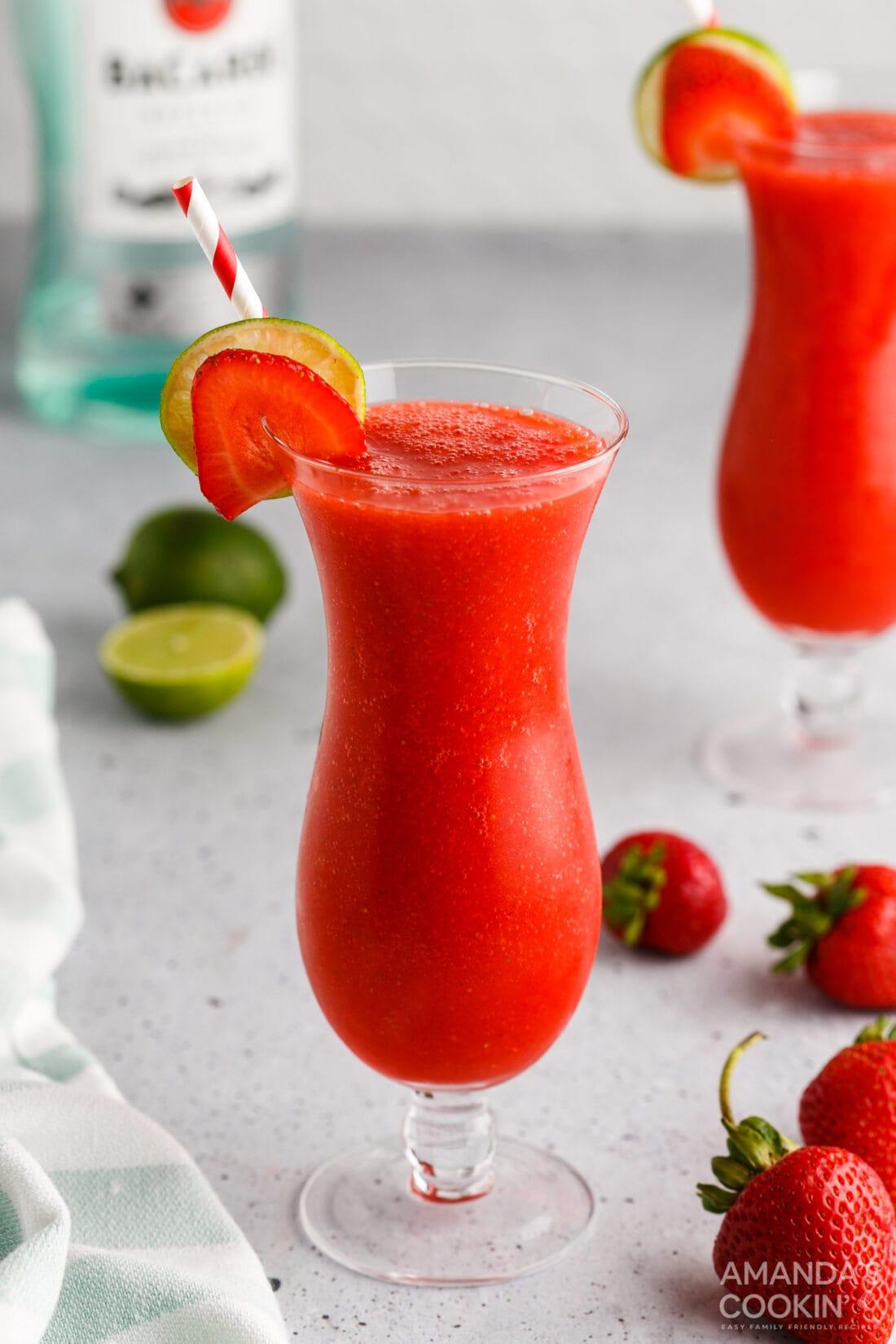 Strawberry Daiquiri in a hurricane glass