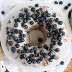 overhead photo of Blueberry Bundt Cake