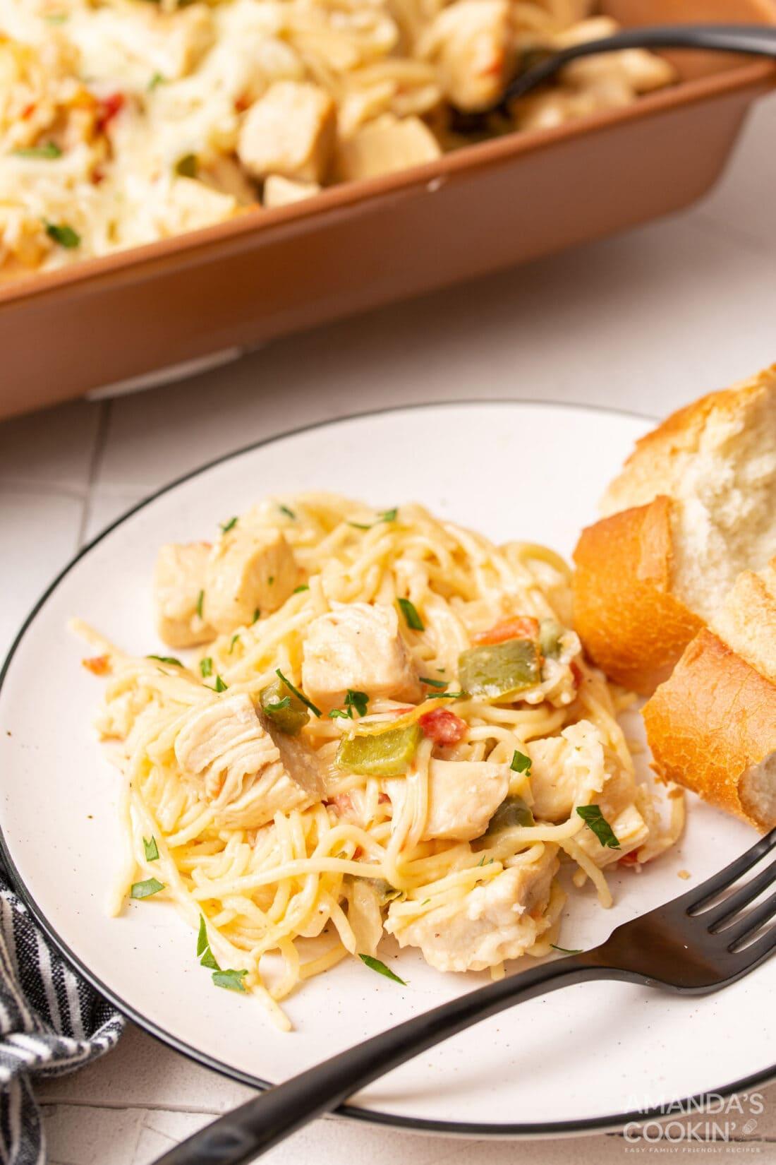 plate of Chicken Spaghetti