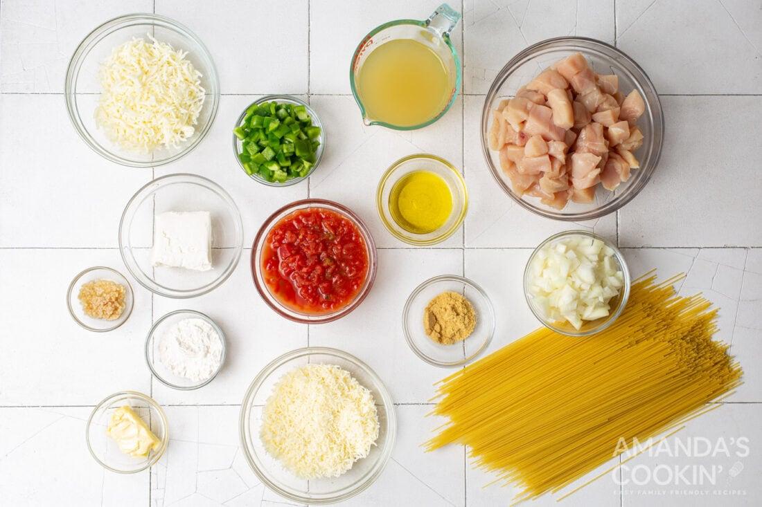 ingredients for Chicken Spaghetti