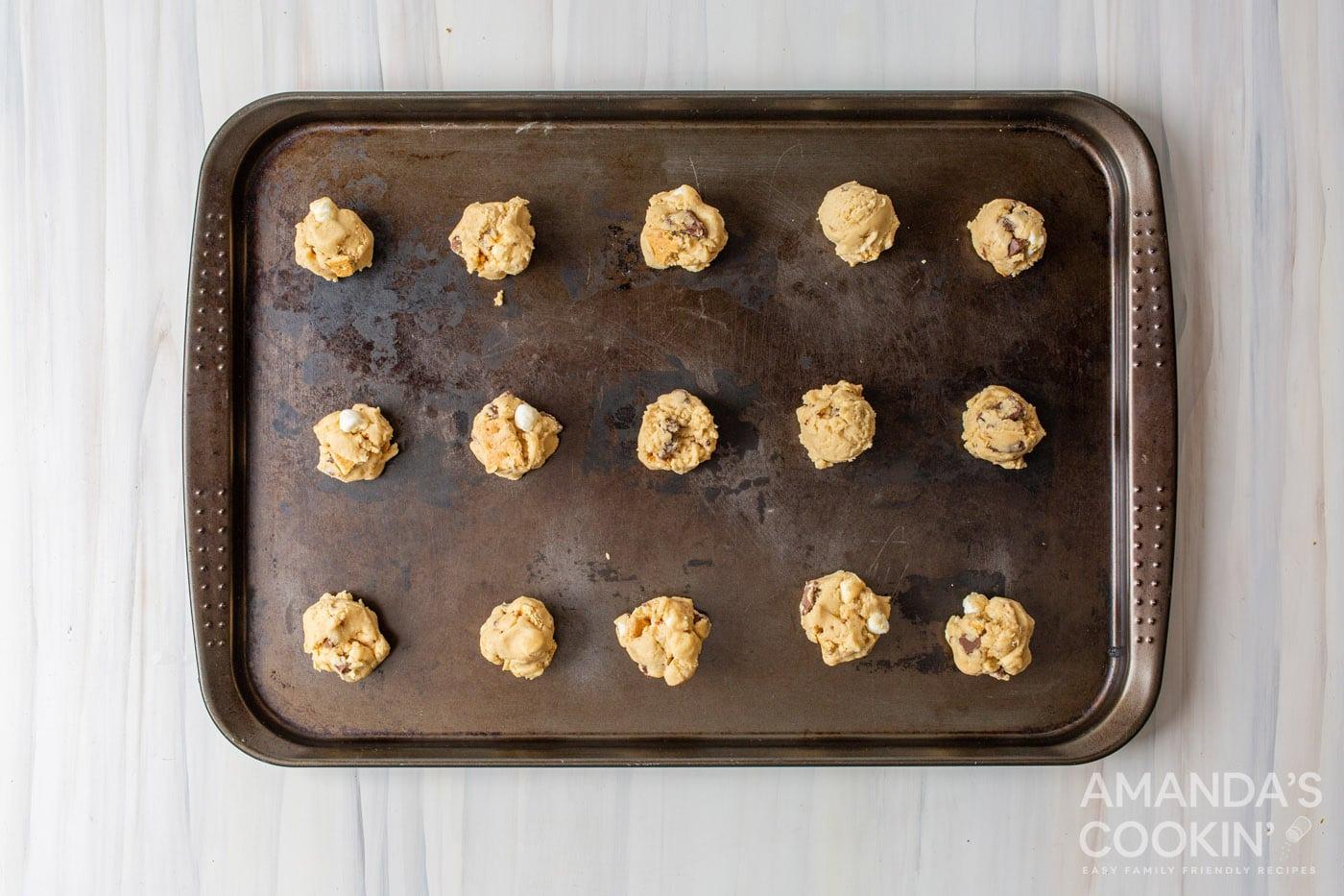 s'mores cookie dough balls on baking pan
