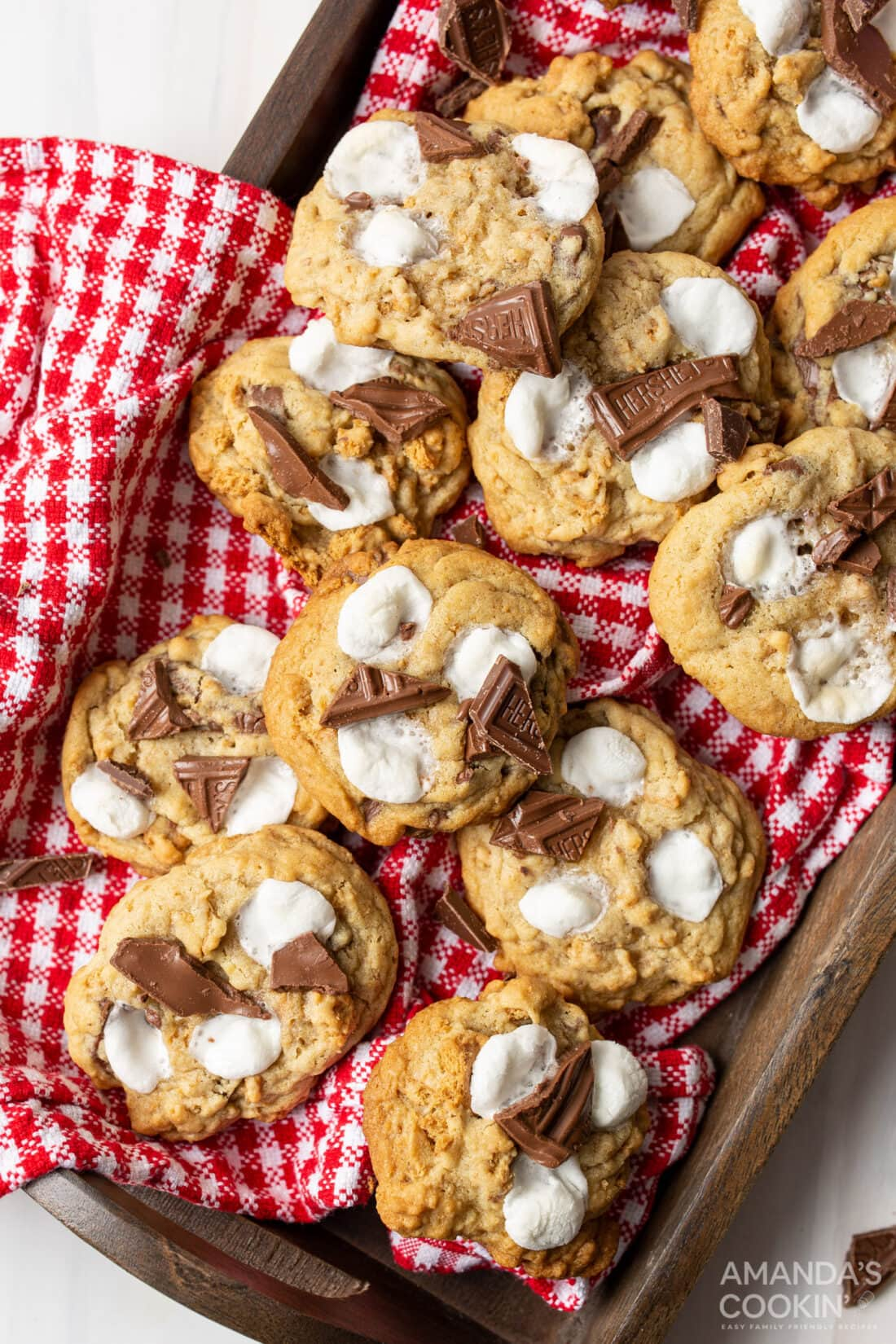 tray of s'mores cookies