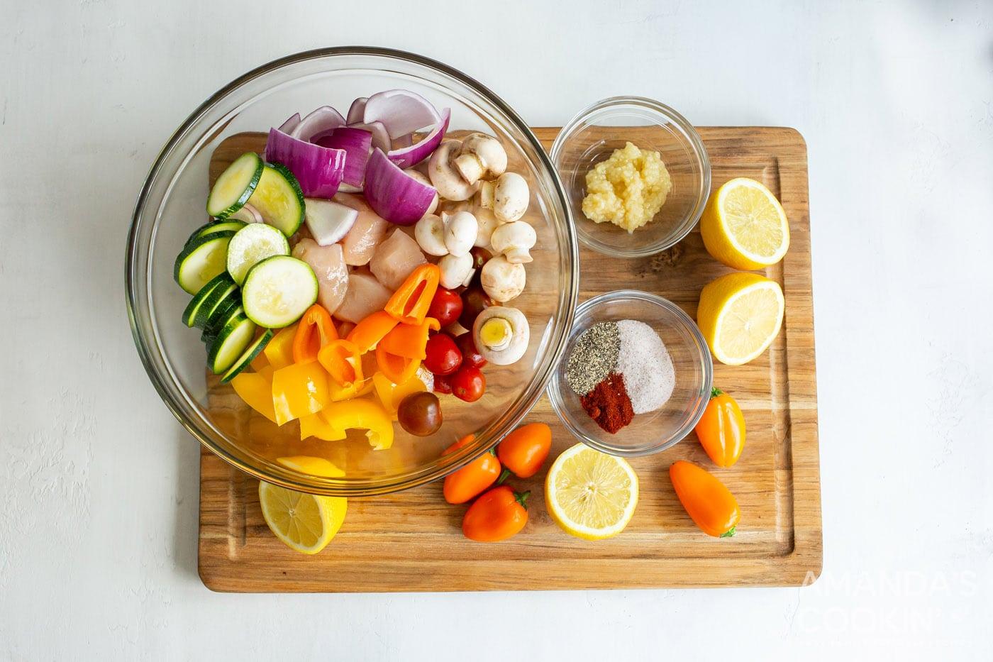 sliced veggies in a bowl