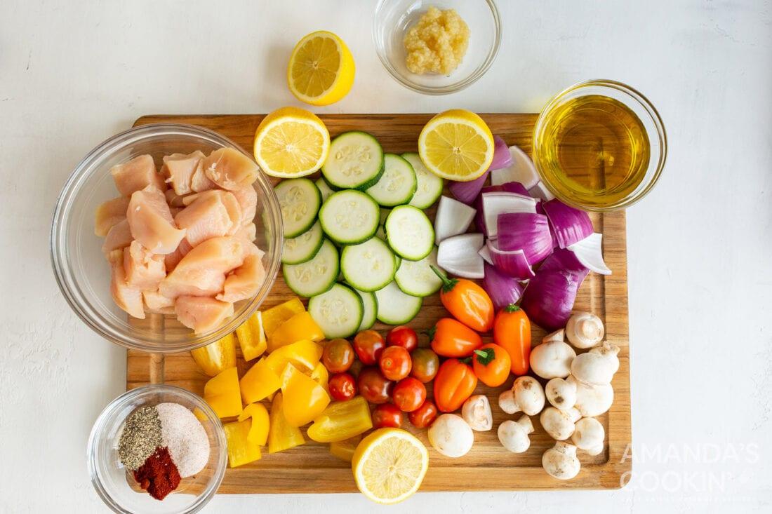 ingredients for Air Fryer Chicken Kabobs