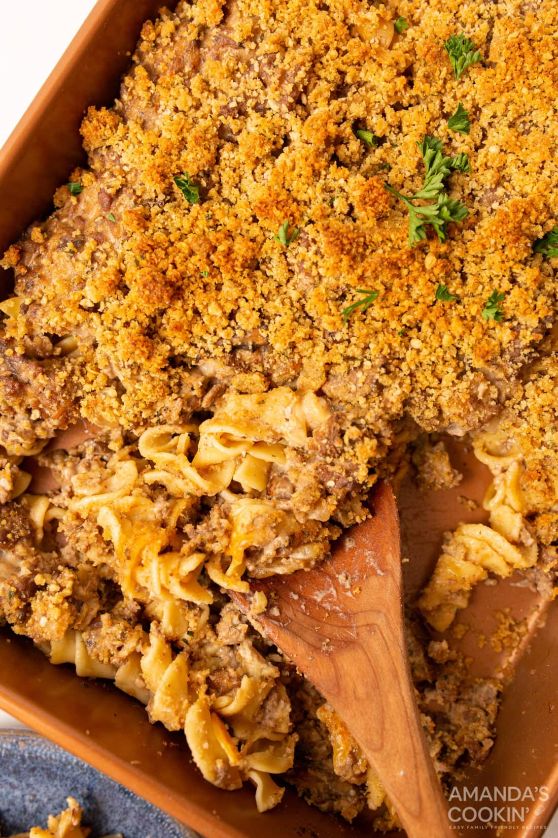 pan of Beef Stroganoff Casserole with a spoon