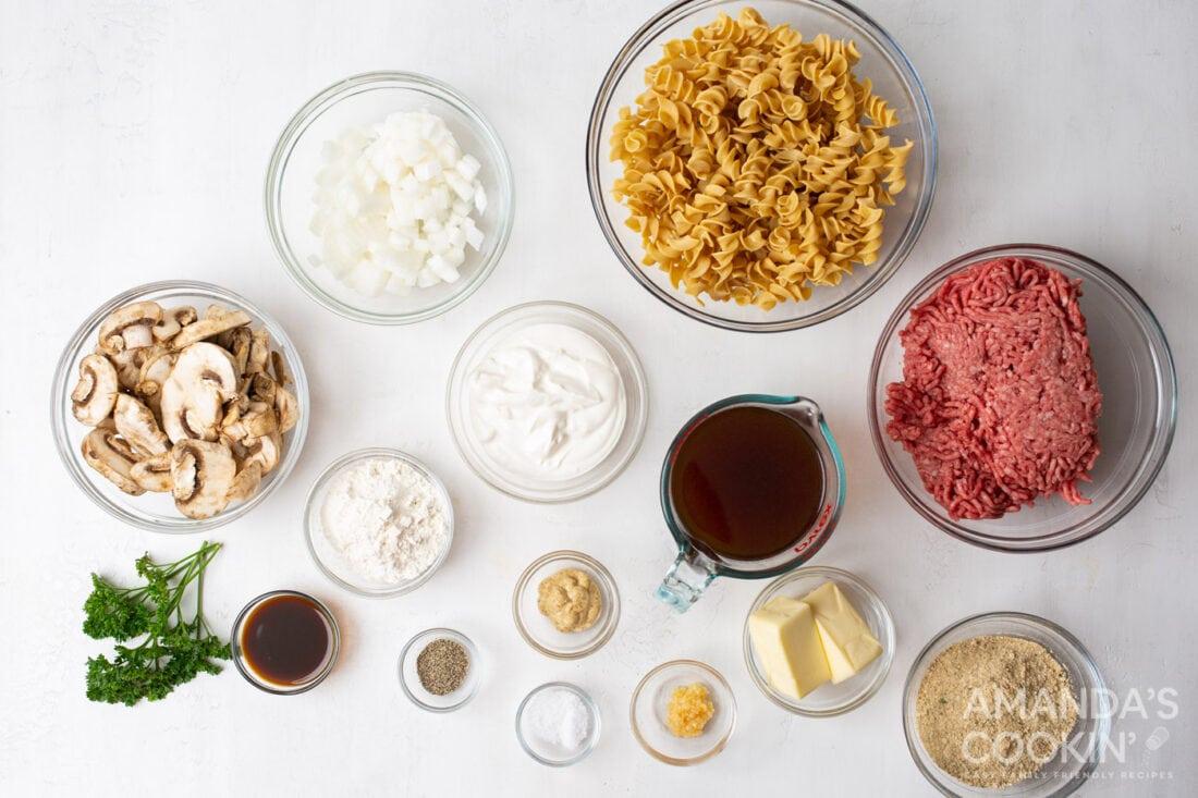 ingredients for Beef Stroganoff Casserole