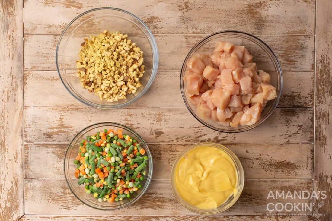ingredients for Chicken Stuffing Casserole