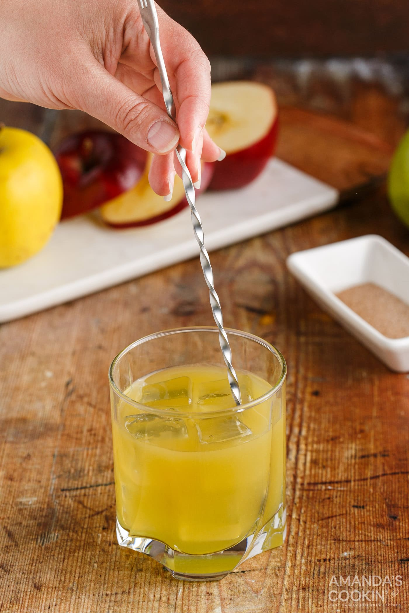 hand stirring cocktail
