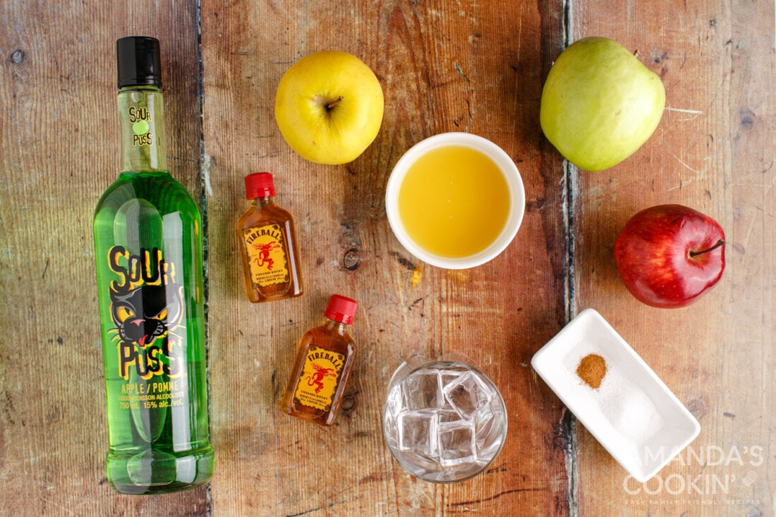 ingredients for making a Cinnamon Applesauce Cocktail