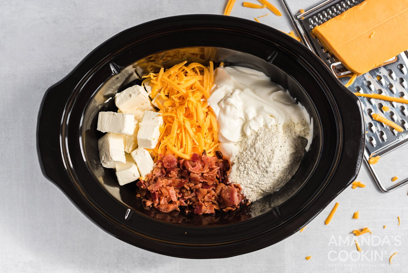 ingredients for cheese dip in the crockpot