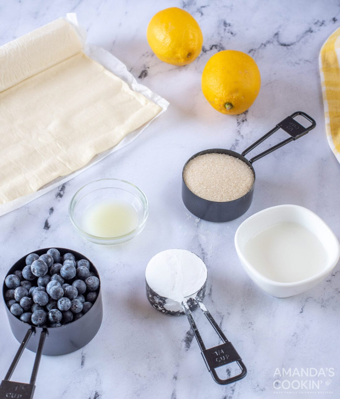 ingredients for making Lemon Blueberry Croissant Hand Pies