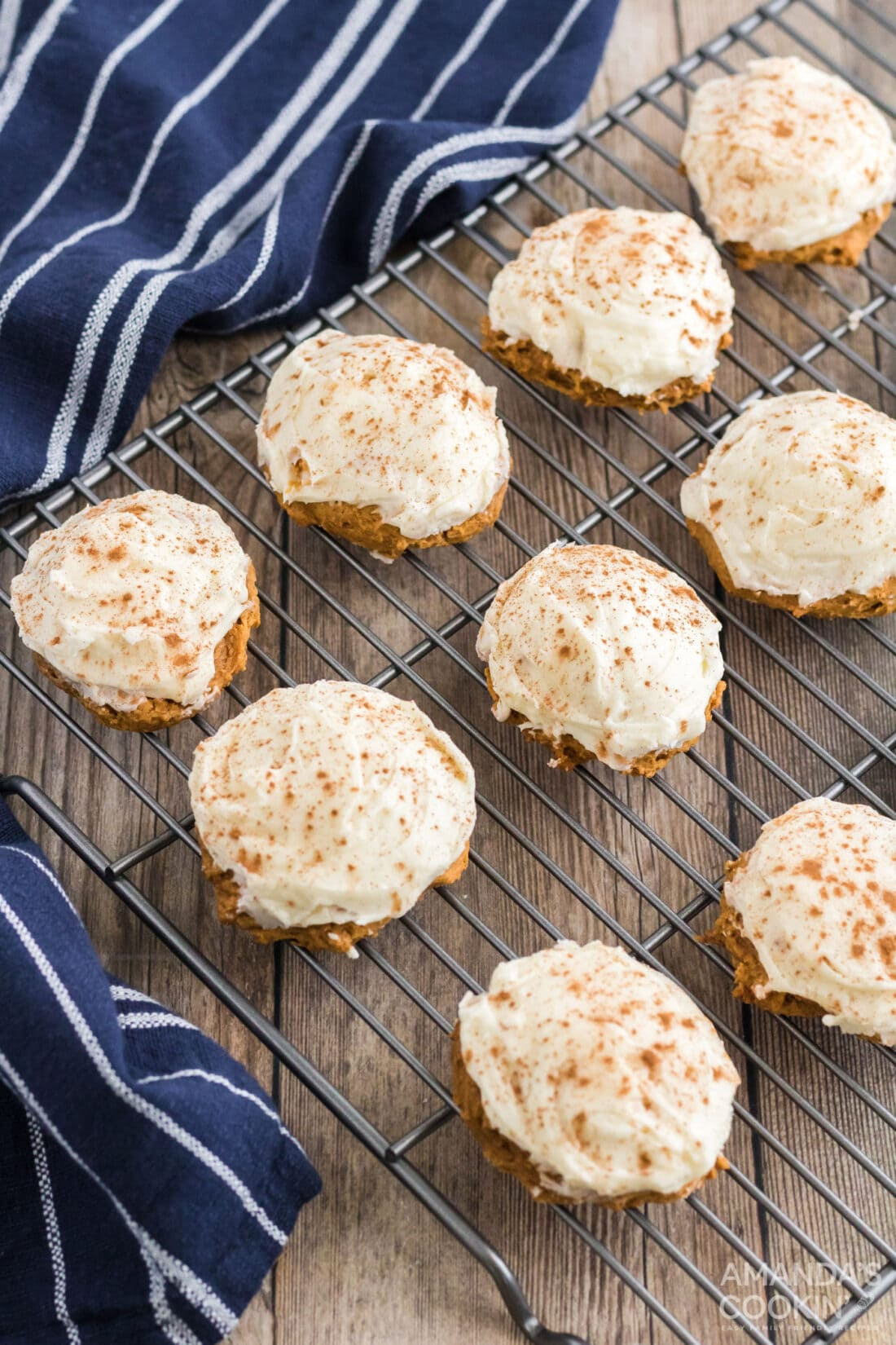 Pumpkin Cake Mix Cookies on a wire rack