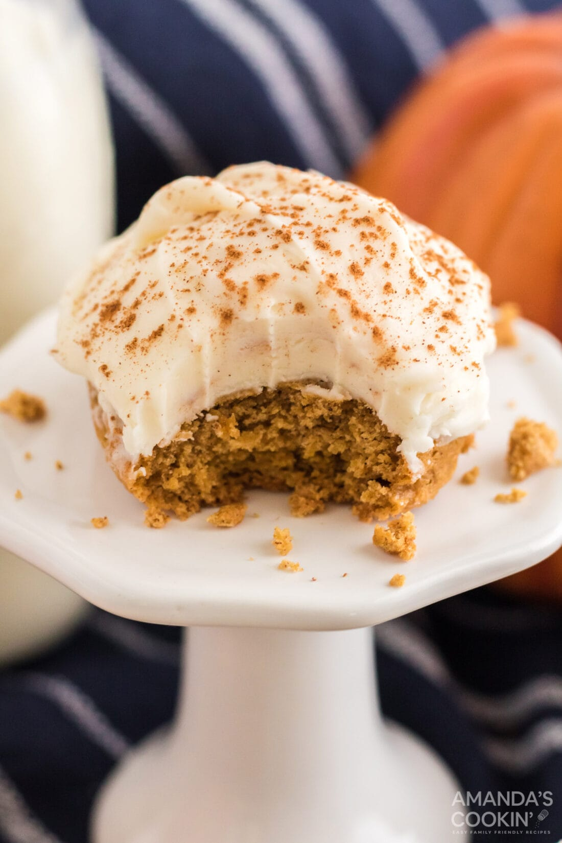 Pumpkin Cake Mix Cookie with a bite out of it