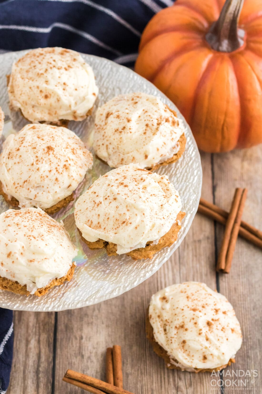 plate of Pumpkin Cake Mix Cookies