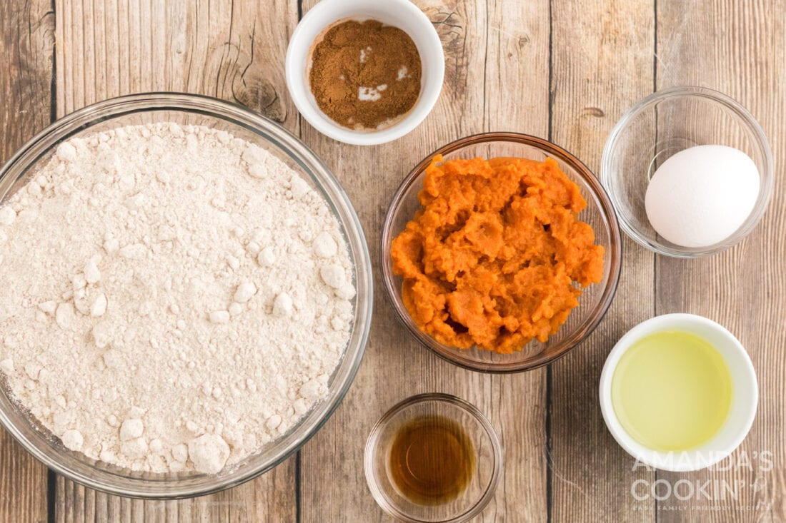 ingredients for Pumpkin Cake Mix Cookies