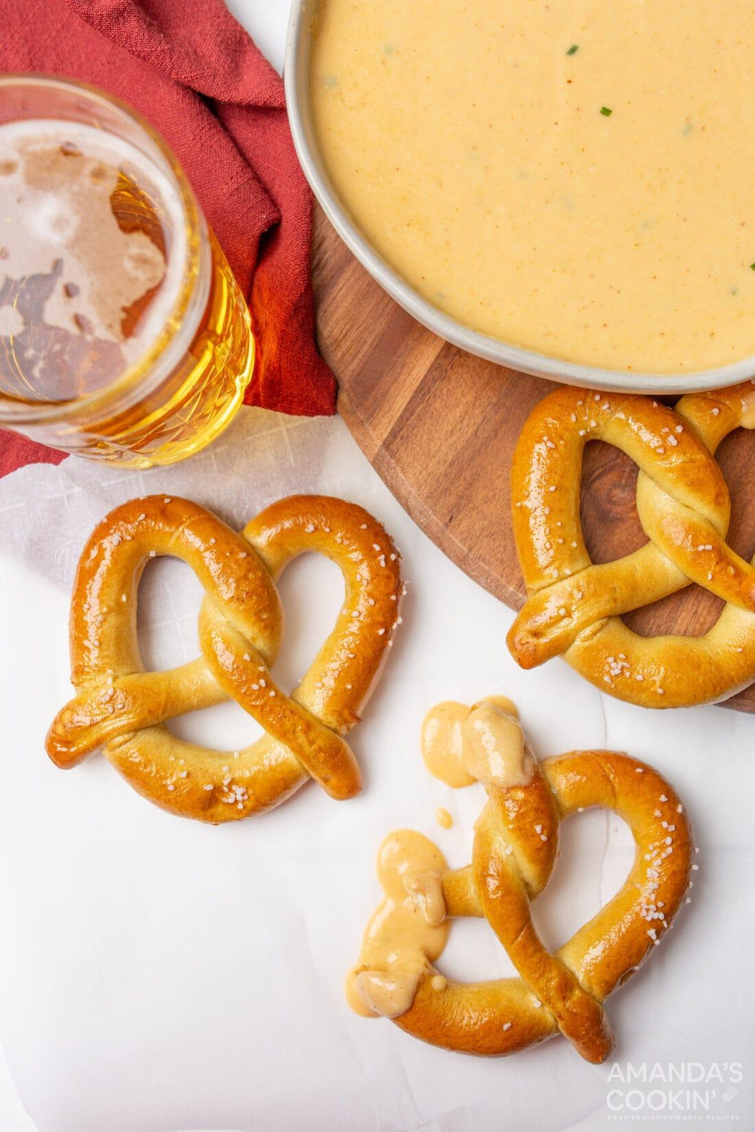pretzel dipped in Beer Cheese Dip