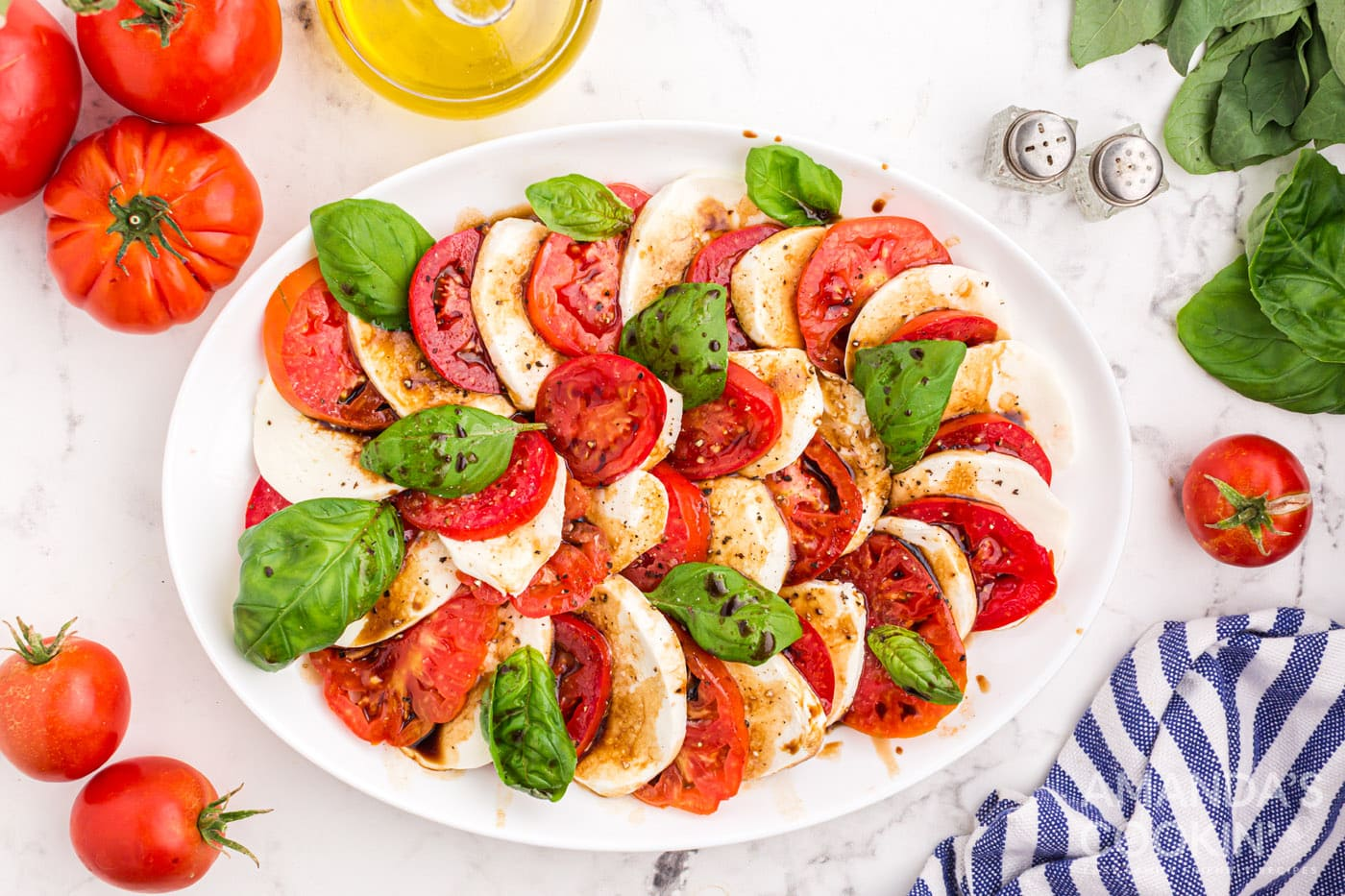 caprese salad with balsamic and olive oil dressing
